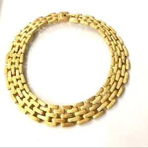 GIVENCHY Chunky Textured Gold Tone Link Necklace